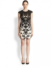 McQ Alexander McQueen - Swallow-Print Stretch Cotton Body-Con Dress at Saks Fifth Avenue