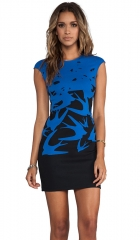McQ Alexander McQueen Cap Sleeve Swallow Dress in Cobalt Blue  REVOLVE at Revolve