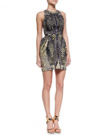 McQ Alexander McQueen Round Neck Open-Back Party Dress BlackNudeMulti at Neiman Marcus
