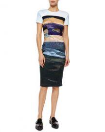 McQ Alexander McQueen Short-Sleeve Landscape-Print Body-Conscious Dress at Neiman Marcus