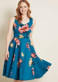 Measured Magnificence Fit and Flare Dress in Teal Floral at ModCloth