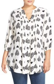 Melissa McCarthy Seven7 Belted Heart Print Pintuck Blouse at Nordstrom