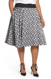 Melissa McCarthy Seven7 Bird Print Full Skirt  Plus Size at Nordstrom