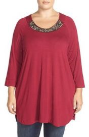 Melissa McCarthy Seven7 Embellished Neckline HighLowTunicTop in Pink at Nordstrom
