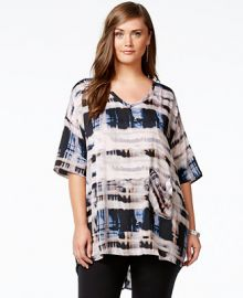 Melissa McCarthy Seven7 Paint-Print Pocketed Top at Macys