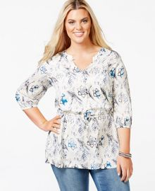 Melissa McCarthy Seven7 Printed Peasant Top at Macys