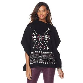 Melissa McCarthy Seven7 Snowflake Sweater Poncho at HSN