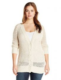 Melissa McCarthy Seven7 Womenand39s Plus-Size Boyfriend Open Weave Cardigan at Amazon