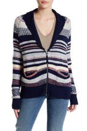 Melrose and Market Stripe Knit Shawl Collar Zip Cardigan at Nordstrom Rack