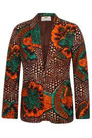 Mens 2 Button African Print Blazer-Joshua Greenleaf at Ohema Ohene