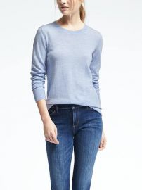 Merino Scallop Crew Pullover  at Banana Republic