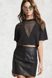 Mesh Insert Cropped Tee by Forever 21 at Forever 21