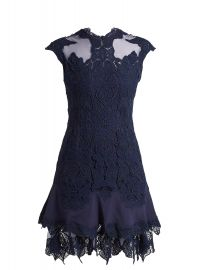Mesh-insert fluted-hem lace dress by Jonathan Simkhai at Matches