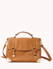 Metal trim satchel in camel at Forever 21