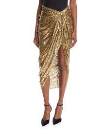 Metallic Cheetah Fil Coupe Sarong Skirt by Michael Kors Collection at Bergdorf Goodman