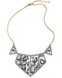 Metallic Crystal-encrusted Mosaic Lace Bib Necklace at Alexis Bittar