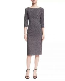 Metallic Dogtooth Boat-Neck Sheath Dress by Michael Kors at Neiman Marcus