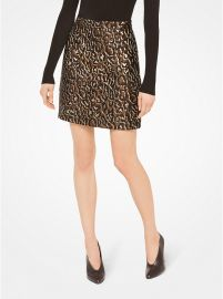Metallic Leopard Jacquard Skirt at Michael Kors