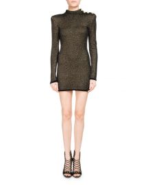 Metallic Mock-Neck Long-Sleeve Dress by Balmain at Orchard Mile