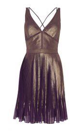Metallic Pleated Dress at Karen Millen