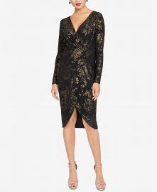 Metallic-Print Faux-Wrap Dress at Macys
