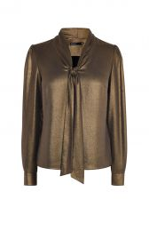 Metallic Pussy Bow Blouse at Karen Millen