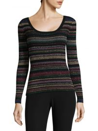 Metallic Striped Scoopneck Sweater by Milly at Saks Off 5th
