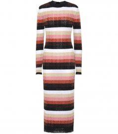 Metallic knitted wool-blend dress by Fendi at Mytheresa