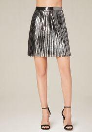 Metallic pleated skirt at Bebe