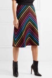 Metallic striped stretch-knit midi skirt at Net A Porter