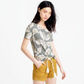 Metallic tropical frond T-shirt at J. Crew