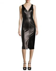 Michael Kors Collection Lamb Leather Sleeveless Zip-Front Sheath at Neiman Marcus