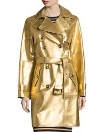 Michael Kors Collection Metallic Leather Double-Breasted Trenchcoat at Neiman Marcus