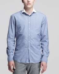 Michael Bastian Contrast-Collar Striped Shirt Blue at Neiman Marcus