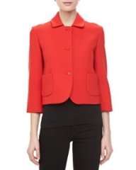 Michael Kors Boucle Three-Button Cropped Jacket Coral at Neiman Marcus