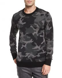 Michael Kors Camo-Print Crewneck Sweater BlackGray at Neiman Marcus