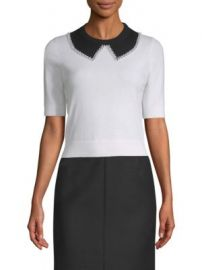 Michael Kors Collection - Faux-Pearl Collar Cashmere Knit at Saks Fifth Avenue