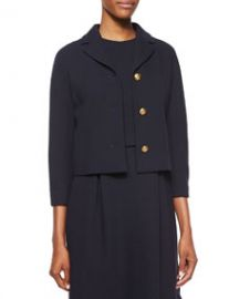 Michael Kors Collection 34-Sleeve Knot-Button Jacket Navy at Neiman Marcus