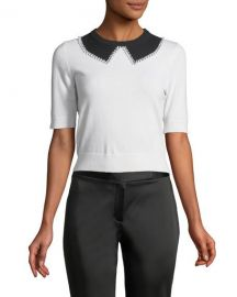 Michael Kors Collection Elbow-Sleeve Faux-Collar Cashmere at Neiman Marcus