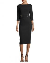 Michael Kors Collection Leather-Trim Boucle Crepe Sheath Dress at Bergdorf Goodman