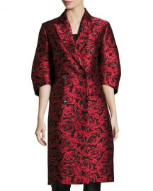 Michael Kors Collection Rose Jacquard Ruched-Sleeve Double at Neiman Marcus