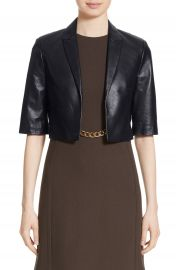 Michael Kors Crop Plong   Leather Jacket at Nordstrom