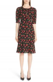 Michael Kors Rose Print Silk Georgette Dress at Nordstrom