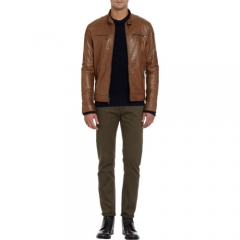 Michael Kors Zip Front Leather Jacket at Barneys