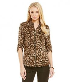Michael Michael Kors Animal-Print Zip-Up Utility Shirt at Amazon