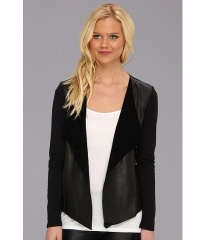 Michael Stars Long Sleeve Leather Front Cardigan Black at Zappos