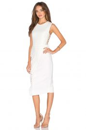 Michelle Mason Lace Midi Dress in Ivory at Revolve
