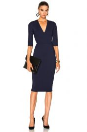 Microbrush Mid Dleeve V-Neck Fitted Dress by Victoria Beckham at Forward