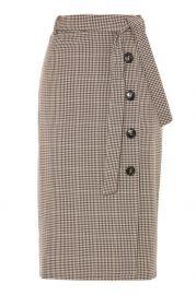 Midi Check Button Skirt at Topshop