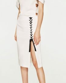 Midi Skirt with Side Slit at Zara